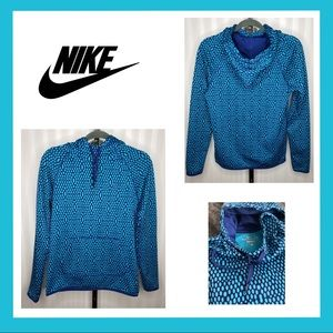 Nike Therma Fit Patterned Blue/Aqua Hoodie Size S